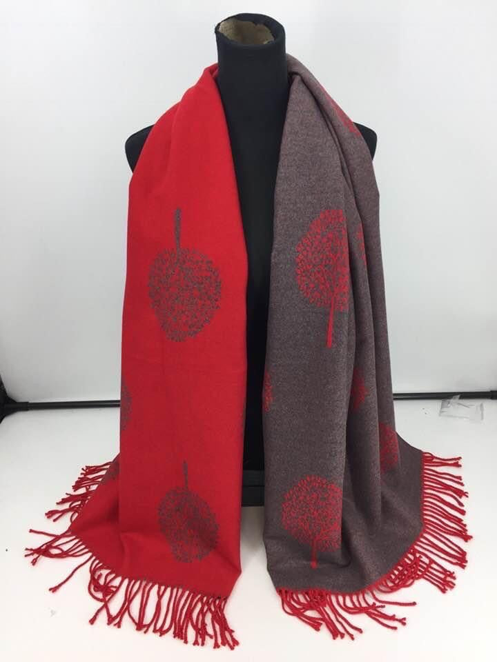 Red & Grey Tree of life scarf