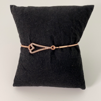 Miss Dee Rose Gold Bangle with Diamonte Heart