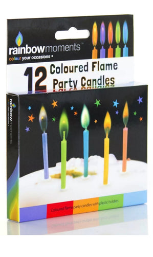 12 Coloured Flame Party Candles