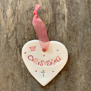 Christening Female Ceramic Hanging Heart