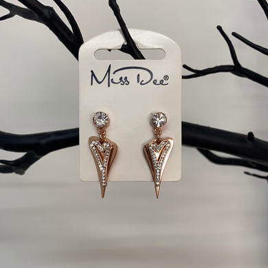 Miss Dee Rose Gold Crystal Double Dangle Earrings