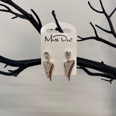 Miss Dee Two Tone Silver/Rose Gold Double Heart Earrings