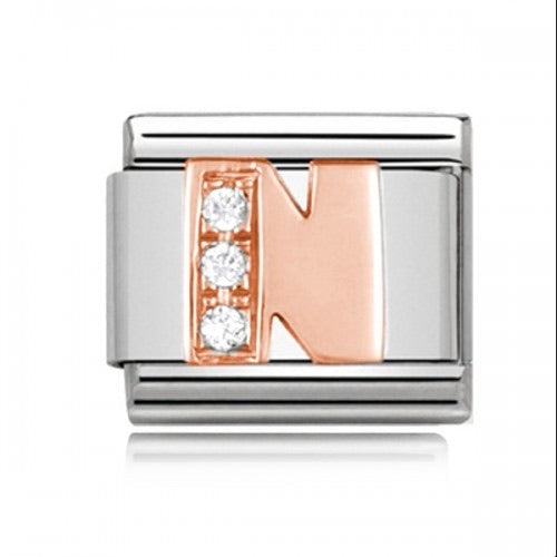 Charmlinks Letter N Rose Gold Silver