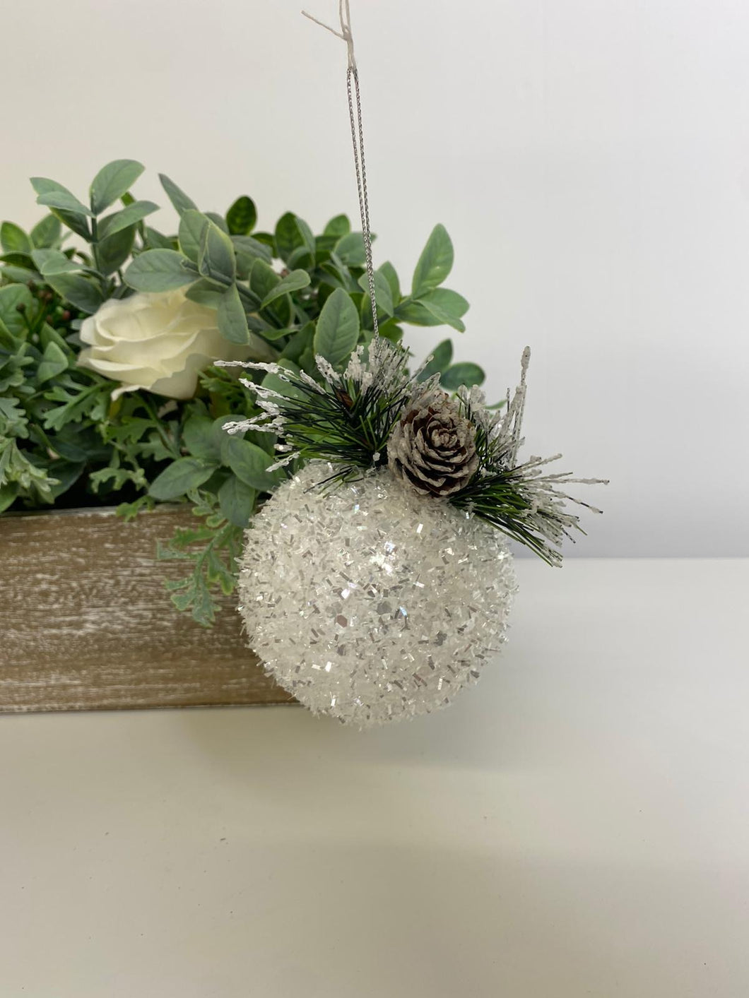 SALE - snow encrusted white bauble