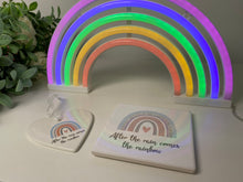 After the rain comes the rainbow ceramic coaster