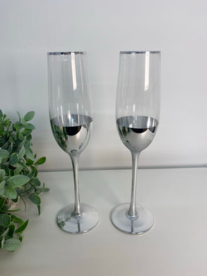 Silver Champagne Flutes (set 2)