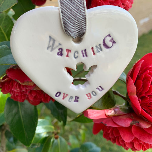 Watching Over You Ceramic Hanging Heart