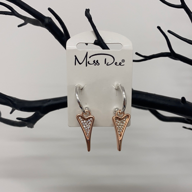Miss Dee Silver & Rose Gold Hooped Earrings With A Diamante Heart Shaped Drop Pendant