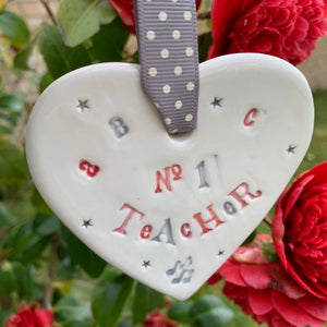 No 1 Teacher Ceramic Hanging Heart