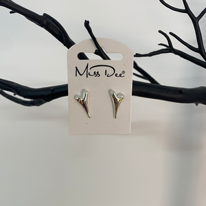 Miss Dee Silver with Yellow Gold Inset Stud Earrings