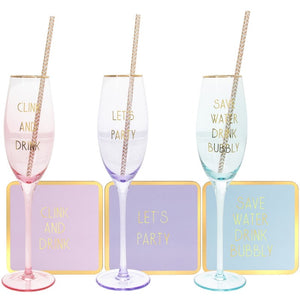 Lets Party Flute Coaster & Straw Set