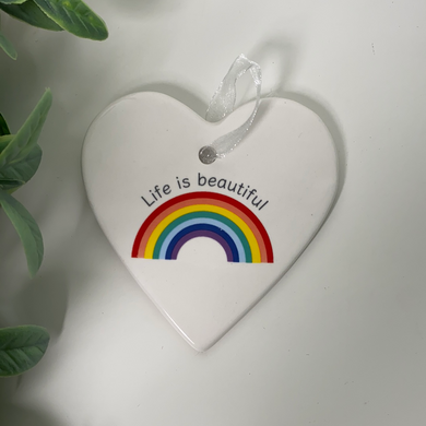 Life is Beautiful Rainbow Ceramic Heart