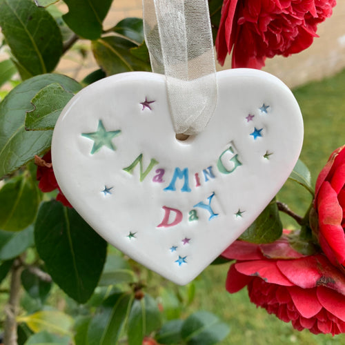 Naming Day Ceramic Hanging Heart