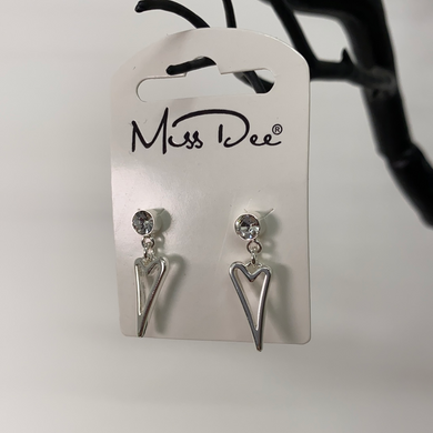 Miss Dee Silver Hollow Heart Earrings
