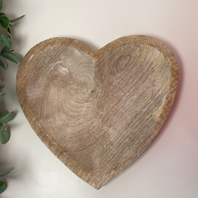 Large Antiqued Wooden Heart Dish