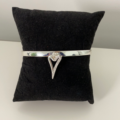 Miss Dee Silver Cuff Bangle with small half diamonte heart
