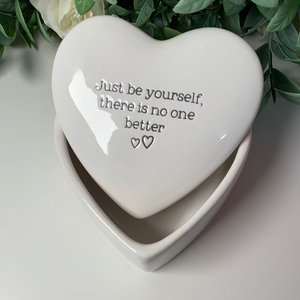 Just Be Yourself Ceramic Heart Trinket Box