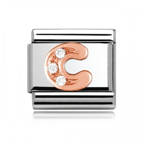 Charmlinks Letter C Rose Gold Silver
