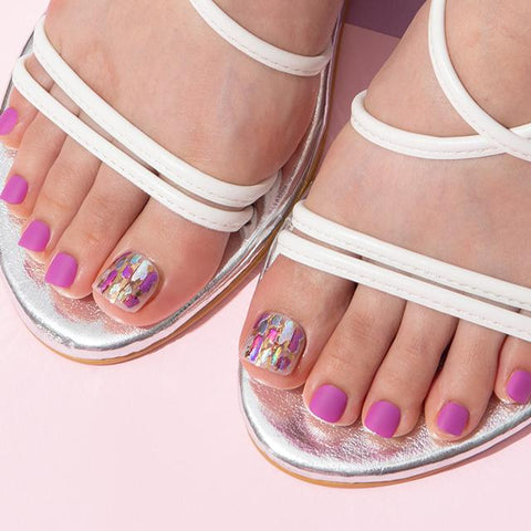 [Press on Pedicure] Deep Purple Mother of Pearl