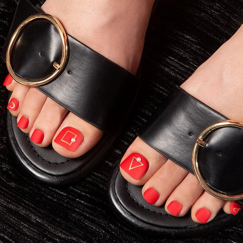 [Press on Pedicure] Modern Red