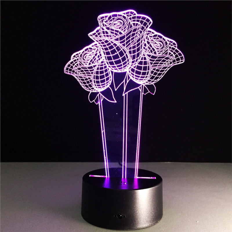 Rose Bouquet Lamp Multicolor LED Lights Touch USB Remote Control Night Light Table Lamp for Couple Romantic Night Valentine's Day Mother's Day Gift