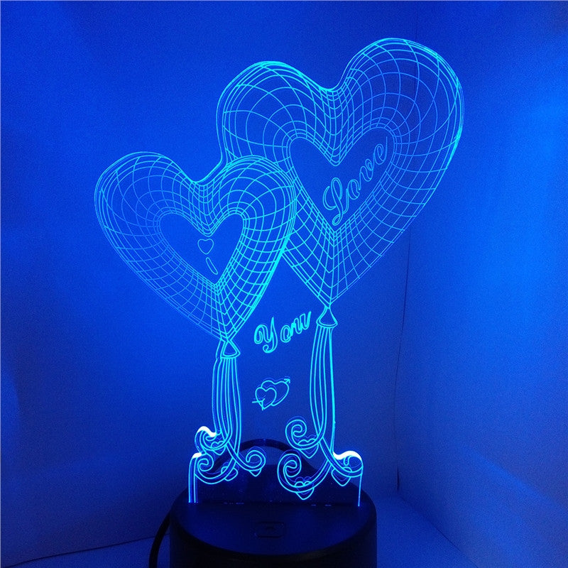 3D Lamp Visual Light Touch Switch Colorful Night Light with Remote Controller