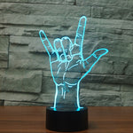 I Love You Sign Language 3D Night Light Instruments Lamp 7 Colorful  LED USB 3D Room Lamp Home Decor For Kids Toy Gift