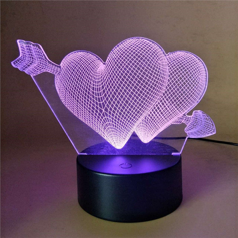 Cupid Double Heart Lamp Multicolor LED Lights Touch USB Remote Control Night Light Table Lamp for Couple Romantic Night Valentine's Day Mother's Day Gift