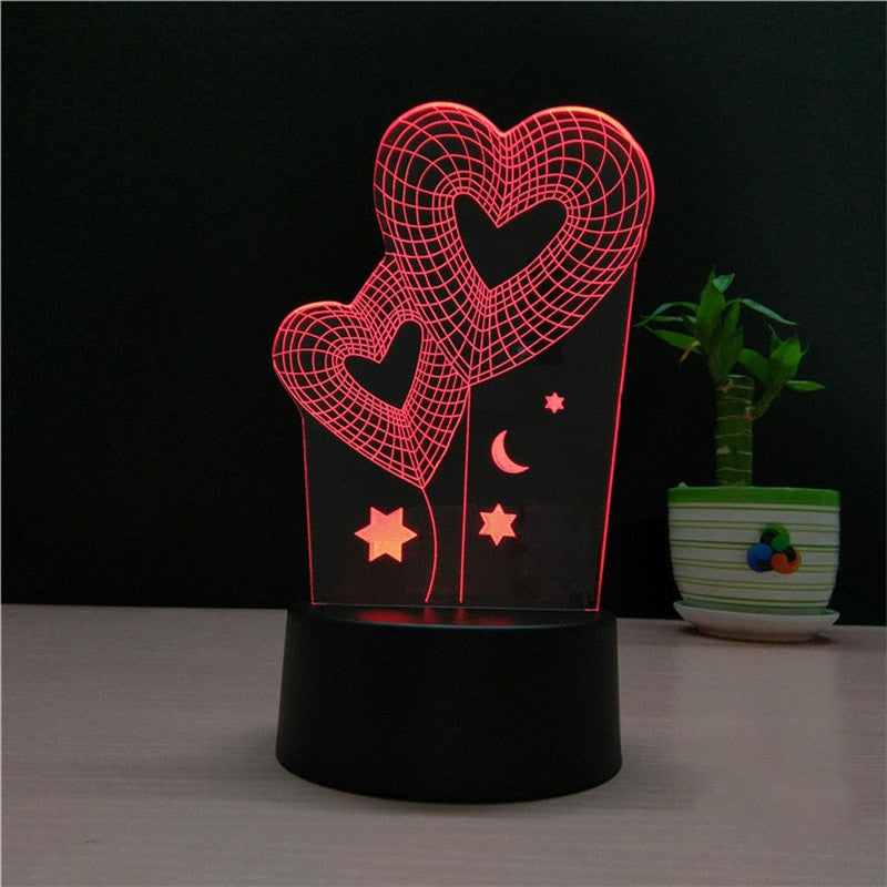 Dual Heart Lamp Multicolor LED Lights Touch USB Remote Control Night Light Table Lamp for Couple Romantic Night Valentine's Day Mother's Day Gift