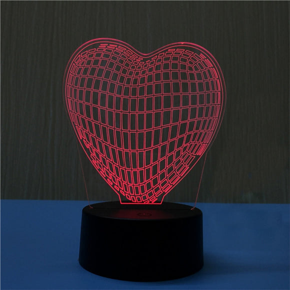 Heart Shaped Hologram Lamp Multicolor LED Lights Touch USB Remote Control Night Light Table Lamp for Couple Romantic Night Valentine's Day Mother's Day Gift