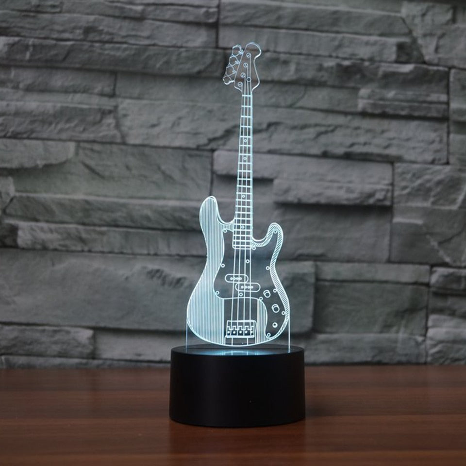 Bass Guitar 3D LED Lamp 7 Color Change RGB Night Light Bedroom Decor Lighting Musical Instruments