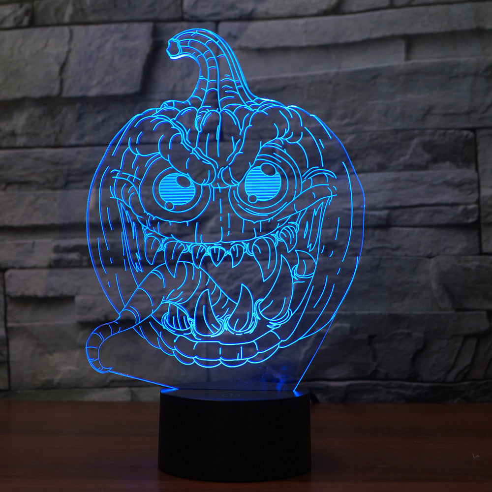 3D Illusion Night Light  LED Light 7 Color with Touch Switch USB Cable Nice Gift Home Office Decorations,Fish-7