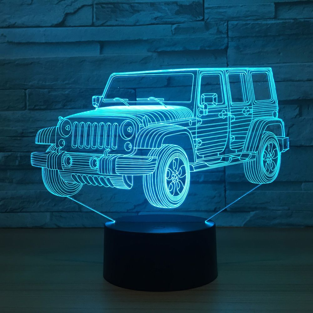 3D LED Car Night Light Gradient Jeep Shape USB Bedside Bedroom 3D Table Lamp USB Indoor Decor Atmosphere lamp Birthday New Gift