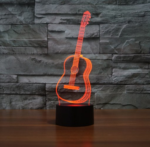 Country Music Guitar 3D LED Lamp 7 Color Change RGB Night Light Bedroom Decor Lighting Musical Instruments