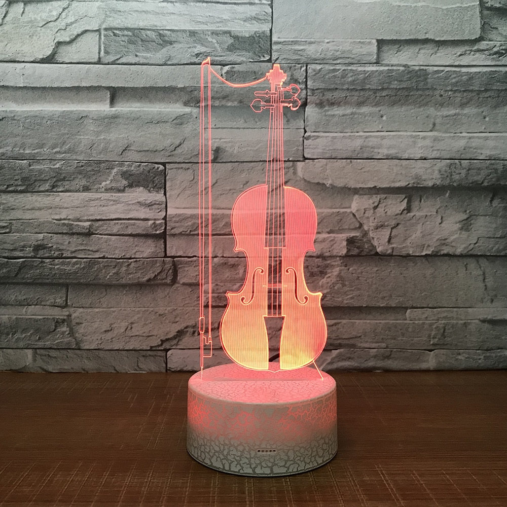 LED Violin 3D Table Desk Lamp USB 7 Colors Changing Musical Instruments Night Light Kids Sleep Lighting Gift Decor Drop Ship