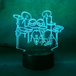 Drum Set 3D LED Lamp 7 Color Change RGB Night Light Bedroom Decor Lighting Musical Instruments