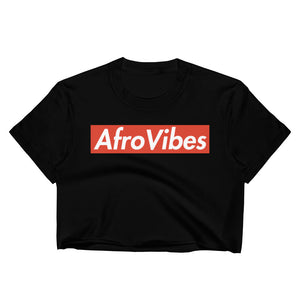 AfroVibes White + Red Women's Crop Top