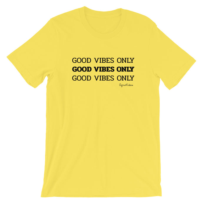 Short-Sleeve Unisex Good Vibes Only Yellow T-Shirt