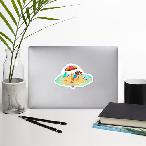 'Akili at the beach' Bubble-free stickers