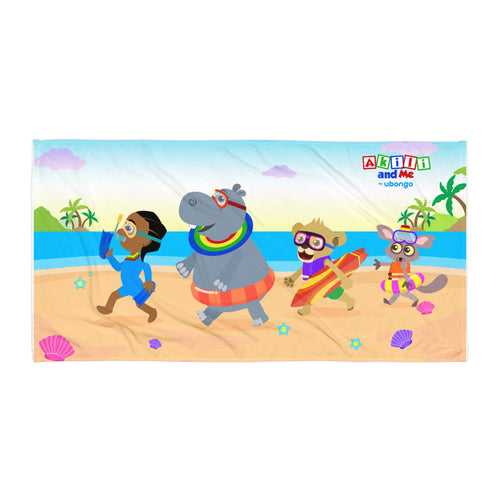 'Akili and friends at the beach' Towel