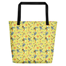 Load image into Gallery viewer, Beach Bag: Akili and Friends Print (Yellow)