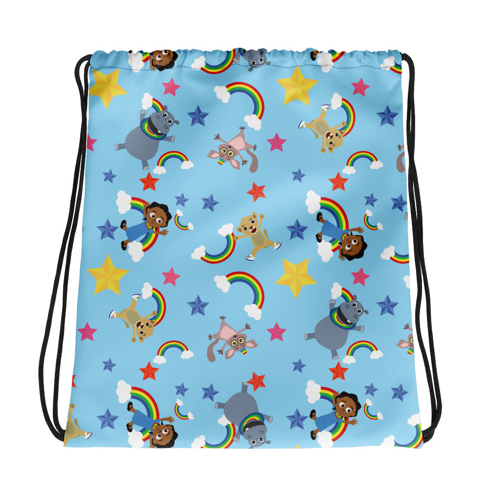 Akili and Friends Print Drawstring bag