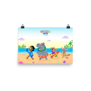 'Akili and friends at the beach' Poster