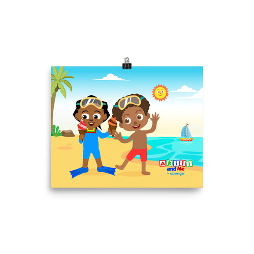 'Akili and Huruma at the beach' Poster