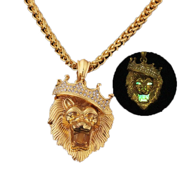 Glow In The Dark Crown Lion Necklaces - Glowsery