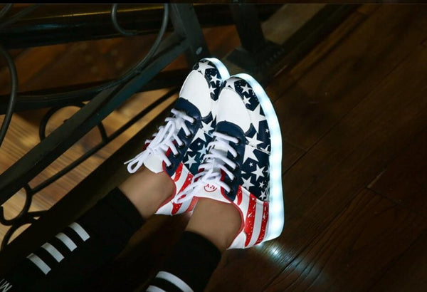 USA Design Casual Style Glowing Sneakers - Glowsery