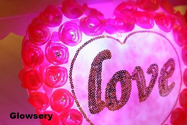 Love Heart Roses LED Light Pillow - Glowsery