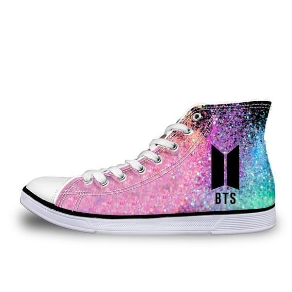 BTS Glowing High top Sneakers Shoes - Glowsery