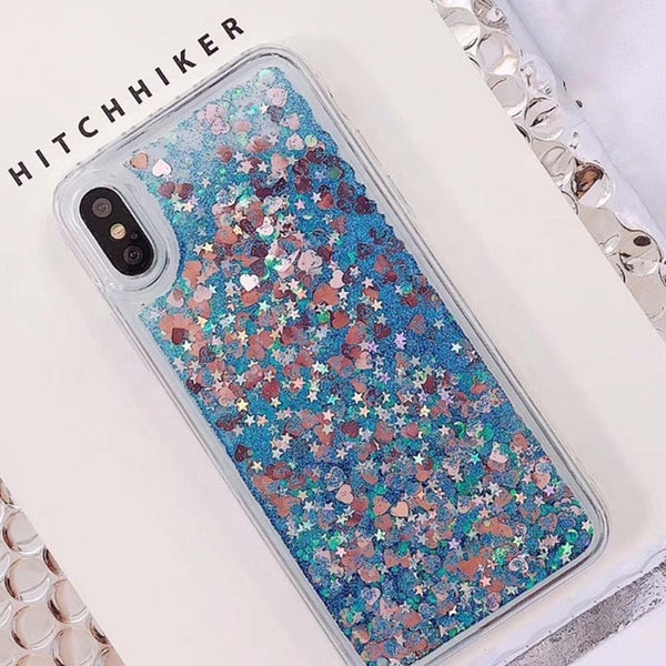 Glowing Love Heart Liquid Phone Case For iPhone - Glowsery