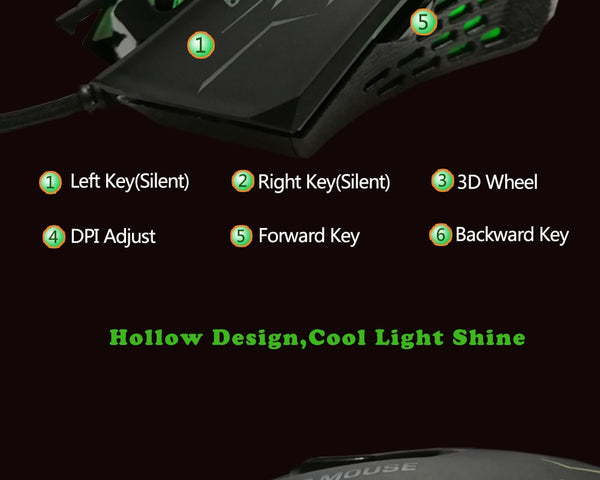 Professional Gaming Mouse 6 Buttons - Glowsery